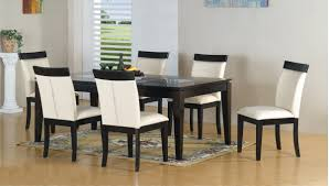 black and white dining table set: elegant white leather contemporary dining chairs combined withmodern wooden dining table on artistic carpet beautify