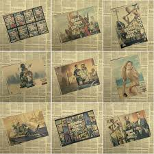 <b>Game GTA 5</b> San Andreas Mural <b>Gaming</b> Kraft <b>Vintage</b> Poster ...