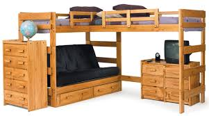 l shaped brown lacquer teak wood loft bunk bed with black futton sofa having several drawers bunk beds desk drawers