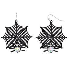 <b>Simulated</b> Crystal <b>Spider Web</b> Nickel Free Drop Earrings