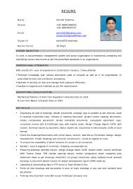 resume for document controller post