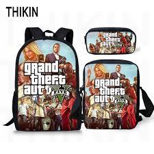 <b>THIKIN Grand Theft</b> Auto Printing Backpack For Teenage Boys Girls ...