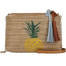 Fanspack Beach Shoulder Bag Satchel Bag <b>Tassel Straw Woven</b> ...