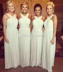 <b>2017 New</b> Halter Chiffon Bridesmaid Dresses A Line Pleats Long ...