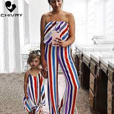 <b>Chivry</b> Family Matching <b>Outfits</b> Summer Striped <b>Mother</b> and ...