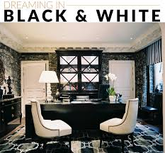 black and white office via lonny chic white home