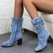 Wadonerful <b>Women</b> Rome <b>Boots</b> Round Toe Thick <b>High Heel Shoes</b> ...