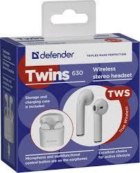 Вставные <b>наушники Defender Twins 630</b> белый 63630 купить в ...