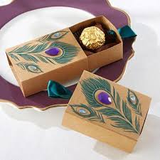 Drawer Design Kraft Paper Gift Boxes <b>Creative Peacock Feather</b> ...
