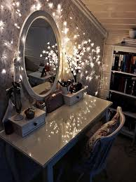 white stained wooden make up table with french legs and glass table top also oval wall charming makeup table mirror lights