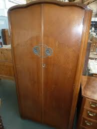 a 1930s art deco austinsuite figured walnut gentlemans two door compact wardrobe armoire art deco figured walnut wardrobe vintage