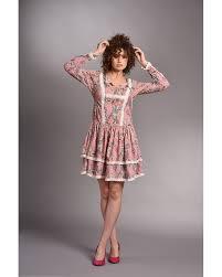 <b>Boho</b> frill <b>dress</b> in <b>pink</b>