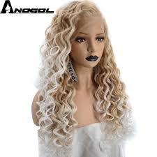 Anogol 150% Long Deep Wave Gold Blonde Ombre Synthetic Lace ...
