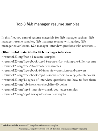 top 8 f b manager resume samples