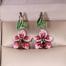 Изысканный Enamel Персик <b>Цветы</b> Листья <b>Dangle</b> Капли Крюк ...