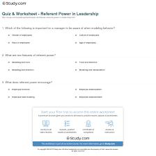 quiz worksheet referent power in leadership study com print referent power in leadership definition examples worksheet