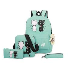 <b>2019 New Fashion</b> Canvas Backpack Schoolbags Set For Girls ...