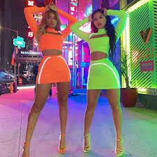 <b>Orange Green Reflective</b> Stripes 2 Pieces Summer Set Short Long ...