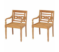 vidaXL <b>Batavia Chairs 2 pcs</b> Solid Teak Wood | vidaXL.com