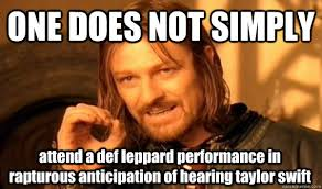 ONE DOES NOT SIMPLY attend a def leppard performance in rapturous ... via Relatably.com