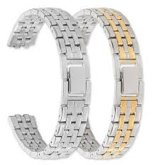 Women's Link Style <b>Metal Watch Band</b> - Silver - (fits 14mm to <b>16mm</b>)