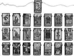 Single Tarot Card <b>Necklaces</b>, <b>Full</b> Major Arcana - <b>BLACK</b> AND WHITE