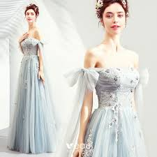<b>Elegant Sky Blue</b> Prom Dresses 2019 A-Line / Princess Off-The ...