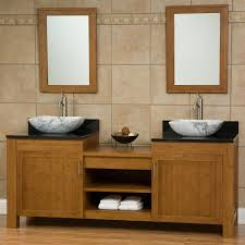 dual vanity bathroom: quot bashe bamboo dual vessel sink vanity with stone top