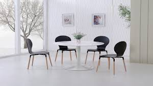 cerda contemporary high gloss black white gloss dining table and  black pu chairs homegenies