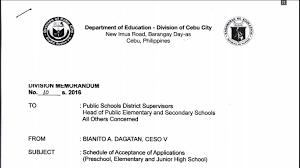 deped cebu city schedule of acceptance of applications deped cebu city 2016 schedule of acceptance of applications preschool elementary and junior high school teacherph
