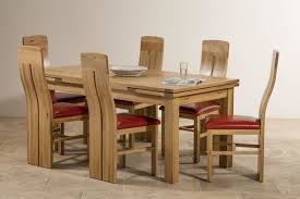 delivery dorset natural real oak dining set: solid oak dining table and red leather chairs tennsat