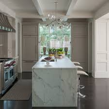 calacatta marble kitchen waterfall: view full size  refrigerators in kitchen gray shaker cabinets floor to ceiling windows