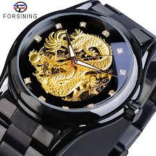 <b>FORSINING</b> Men Watch Golden <b>Dragon Skeleton</b> Analog Automatic ...