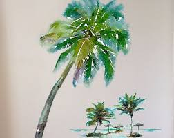 palm tree wall stickers: palm tree wall decal tropical decor