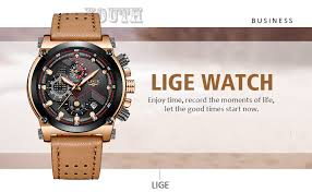 Amazon.com: <b>LIGE Men's</b> Fashion Sport Quartz Watch with Brown ...