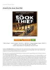 review the book thief novel characters