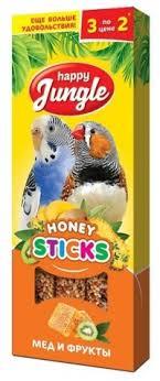 "Лакомство для птиц ""Happy Jungle"", палочки с медом и фруктами ..."