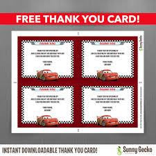 disney cars lightning mcqueen birthday invitation cars lightning mcqueen birthday invitation editable thank you card