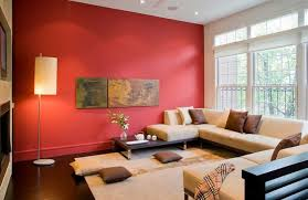 red and brown living room decor with bold splash of red wall that combined with brown bold living room furniture
