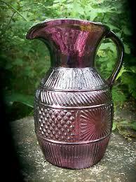 "<b>Vintage</b> Amethyst Purple <b>Glass</b> Pitcher 7.5""H Early <b>American</b>-<b>Style</b> ..."