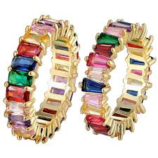 Hot Sale Thin Baguette Rainbow CZ Gold <b>Ring</b> For Women <b>Fashion</b> ...