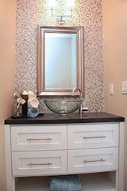 guest bathroom glass mosaic tiles