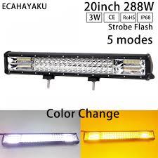<b>ECAHAYAKU 20Inch 288W</b> Led Light Bar 3 Row White/Amber Color ...