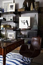 blue and white rug livens up what would otherwise be a dark room wsj blue home office dark wood