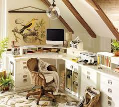 small attic home office with l shape desk optimizing attic for home beautiful home office shaped