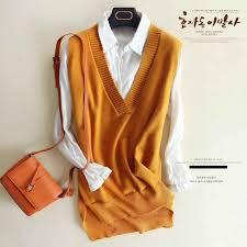 zocept <b>2018 Spring</b> Women's Knitted Wool Big V Neck Vest <b>Long</b> ...