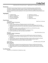Resume Examples  Resume Summary Example For Computer Repair Technician With Highlights In Hardware Configuration And