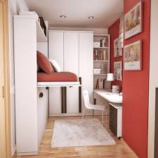 beautiful small bedroom with murphy bed and small study desk and white cupboard and red wall beautiful murphy bed desk