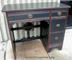 improvised red glaze on antique desk painted black black and red furniture