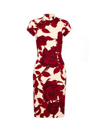 <b>Rose</b> Print Short Qipao with <b>Silk</b> Lining